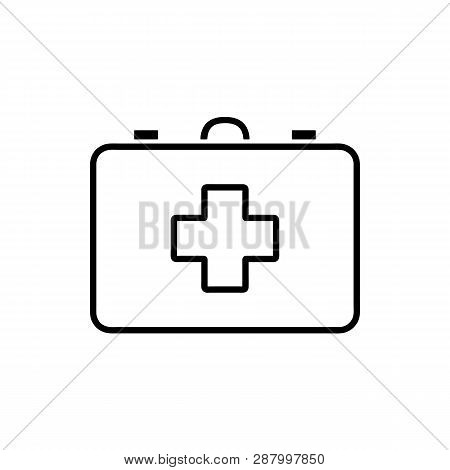 Flat Line Monochrome First Aid Kit Icon For Web Sites And Apps. Minimal Simple Black And White First