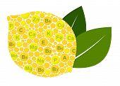 Lemon Benefits. Vitamins and minerals of lemon. Infographics nutrients in lemon fruit. Vector illustration lemon, vitamins, health food, nutrients poster