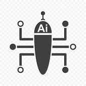 Multifunctional artificial intelligence icon. Minimalistic image of a multitasking robot. Vector on transparent background. poster