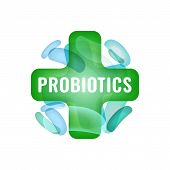 Probiotics sign. Normal gram-positive anaerobic microflora logotype. Editable vector illustration in light green colors. Transparent style. Medical, healthcare and scientific concept. poster