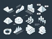 Graphic isometric. Infographic business diagram charts stats shapes vector empty infographic template. Business diagram 3d, chart isometric, graphic illustration poster