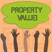 Text sign showing Property Value. Conceptual photo Estimate of Worth Real Estate Residential Valuation. poster