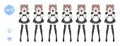 Anime manga girl, Cartoon character in Japanese style. Costume of maid cafe. Set of emotions. Sprite full length haracter for game visual novel poster