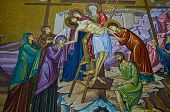 Mosaic image in the church of the Holy sepulcher in Jerusalem Israel poster