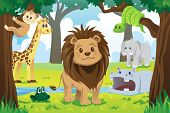 A vector illustration of wild jungle animals in the animal kingdom poster