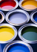 Cans and paint on the blue background poster