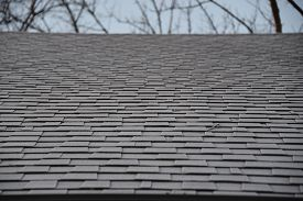 Asphalt Shingles House Roofing Construction With Frost During Winter, Repair. Problem Areas For Hous