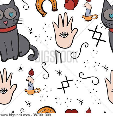 Divinations, Signs And Symbols. Cats, Candlestick, Hiromanticsa. Vector Seamless Background