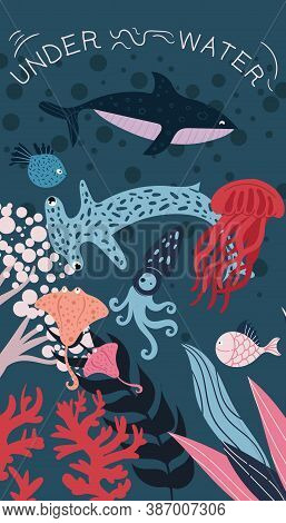 Inhabitants Of The Underwater World In An Abstract Psychedelic Illustration. Flat Colorful Vector Il