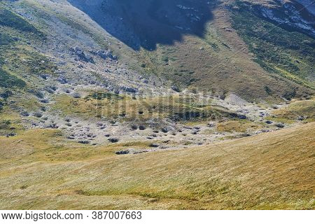 Mountain Landscape - Deserted Highland Valley Covered With Numerous Karst Sinkholes