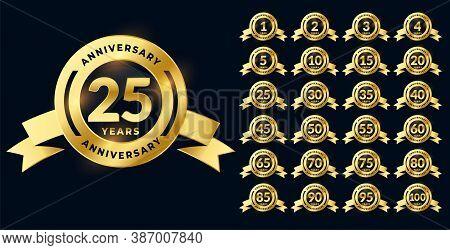Golden Anniversary Shiny Labels Or Emblems Big Set
