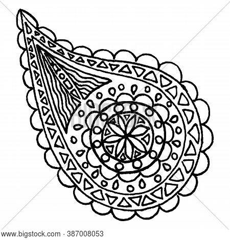 Paisley Buta Hand Drawn Monochrome Pattern Doodle Vector Art