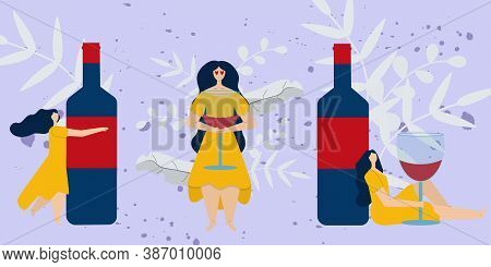Set With Beautiful Woman In Yellow Dress With Big Wine Bottle And Wine Glass. Wine Lover Vector Cart