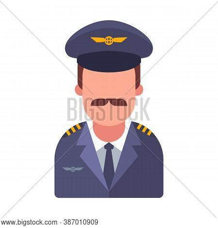 Mustachioed Pilot Of A Passenger Plane. Flat Vector Character Illustration.