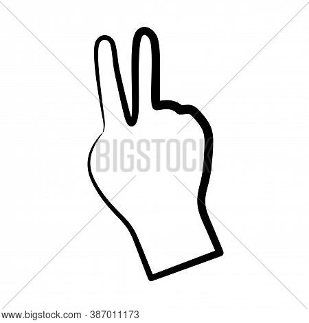 Hand Shows Victory Sign Solid Icon, Hand Gestures Concept, Victory Sign On White Background, Peace H