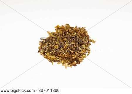 Tobacco On A White Background. Dry Tobacco Leaves. Cigarette Tobacco On A White Background. Dry Toba
