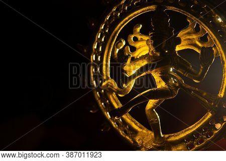 Golden Idol Of The Hindu God Lord Nataraja With Back Lighting