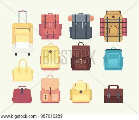 Backpacks For Hiking, Tourism. Suitcases, Bags And Backpacks. Flat Icons. Set Of Colorful Backpacks.
