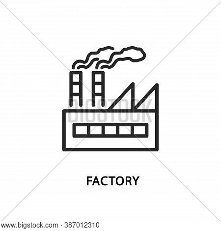 Factory Flat Line Icon. Vector Illustration Factory Building.
