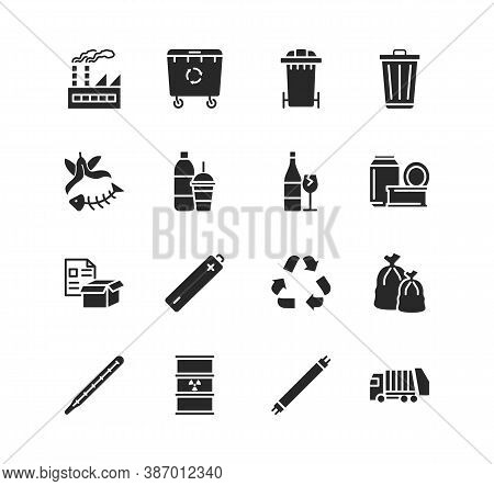 Recycling And Sorting Of Waste Glyph Flat Icon Set. Garbage Sorting. Vector Illustration Trash, Fact