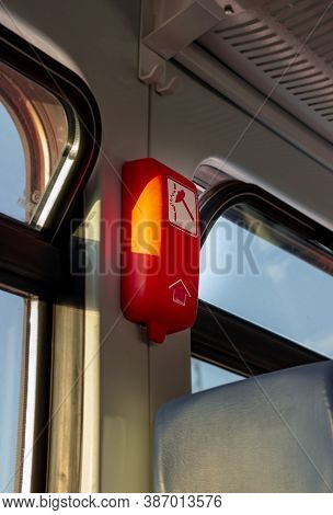 Emergency Exit On The Electric Train. Emergency Brake In The Subway