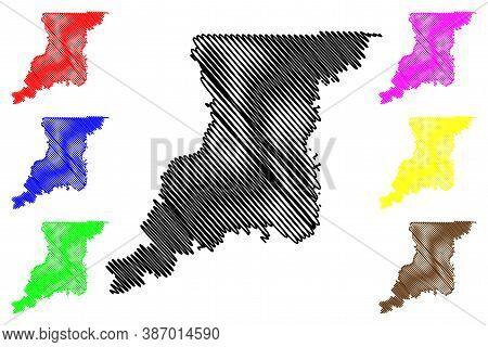 Knox County, Indiana (u.s. County, United States Of America, Usa, U.s., Us) Map Vector Illustration,
