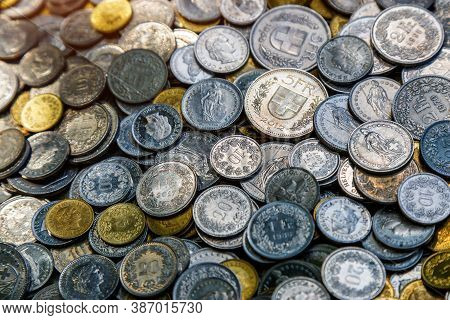 Coins Of Switzerland. Libertas Head Depicted In The Swiss 10 Rappen Coin.coins Background.coins From