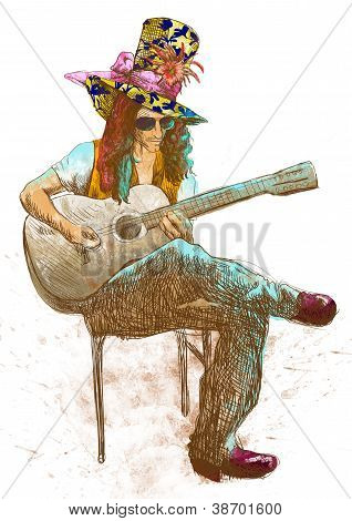 Guitar player - eccentric with big hat