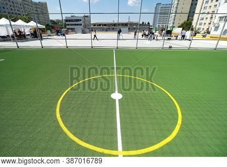 Bucharest, Romania - June 26, 2020 Mini Soccer Field With Artificial Playing Surface On Tre Roof Of