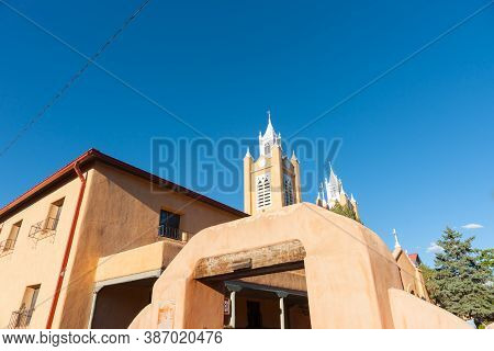 San Felipe De Neri Church In Spanish Architectural Style In Plaza, Albuquerque, New Mexico,  Behind