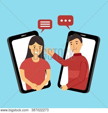 Man And Woman Make A Video Call Concept Vector Illustration. Long Distance Relationship Between Frie