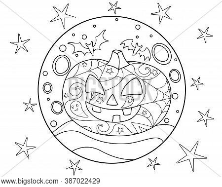 Halloween Pumpkin And Bats On The Background Of The Full Moon And Stars - Antistress Coloring Book -