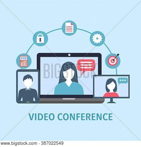Video Conference Concept Vector Illustration. Webinar Online Training Education Flat Design. Busines