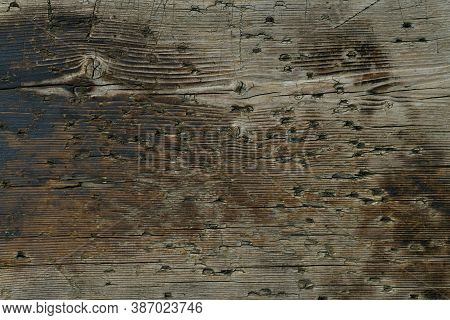 A Wooden Background From A One Piece Board With Bitches And Dents.