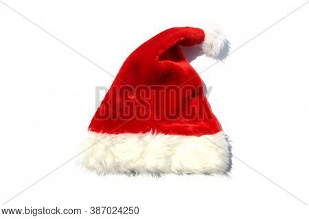Santa Claus Hat. Red Santa Hat. Isolated on white. Room for text.