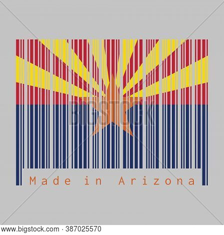 Barcode Set The Color Of Arizona Flag, The States Of America, Red And Yellow On The Top Half, With S