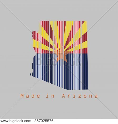 Barcode Set The Shape To Arizona Map Outline And The Color Of Arizona Flag On Grey Background, Text: