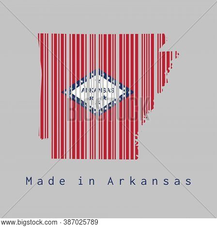 Barcode Set The Shape To Arkansas Map Outline And The Color Of Arkansas Flag On Grey Background, Tex