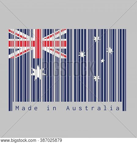 Barcode Set The Color Of Australia Flag, Blue Red And White Color With White Star And Union Jack Wit