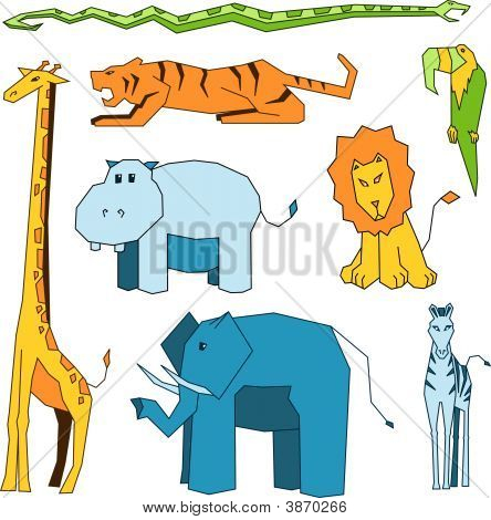 Collection of eight stylized vector safari animals in color poster