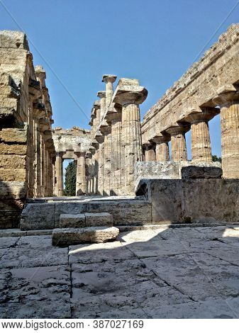 Temple Of Athena In Paestum, Campania, Italy
