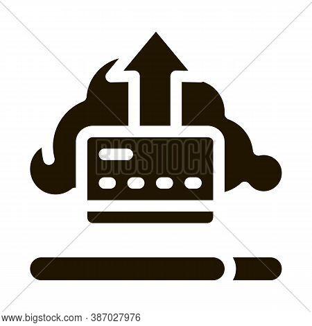 Write-off Data Through Cloud Storage Glyph Icon Vector. Write-off Data Through Cloud Storage Sign. I