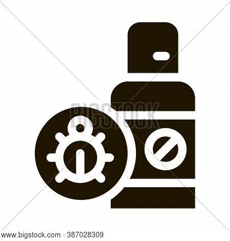Flea Spray Glyph Icon Vector. Flea Spray Sign. Isolated Symbol Illustration