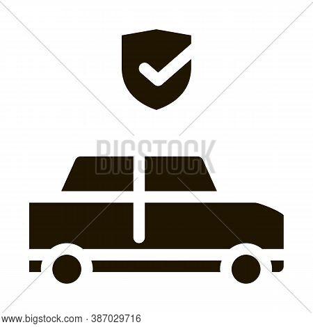 Parking Auto Confirmation Glyph Icon Vector. Parking Auto Confirmation Sign. Isolated Symbol Illustr