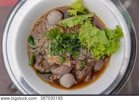 Thai Beef Clear Soup White Rice Noodle Vermicelli With Braised Beef, Meatball And Vegetable. Delicio