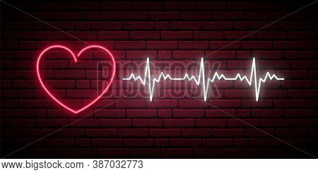 Neon Heartbeat Sign. Glowing Neon Heart And Heartbeat Sign On Brick Wall Background. Concept Healthc