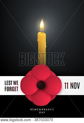 Remembrance Day Concept Poster With A Poppy Flower And Light Candle. Stock Vector Illustration For N