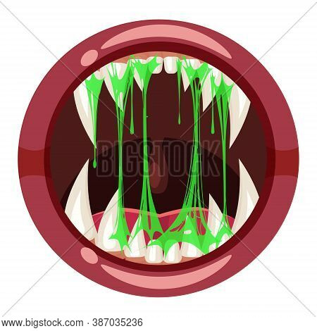 Monster Mouth Creepy And Scary. Funny Jaws Teeths Creatures Expression Monster Horror Saliva Slime.