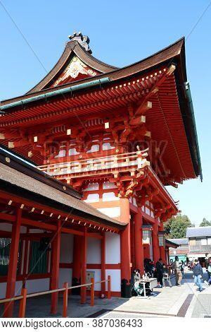 Fushimi-ku, Kyoto, Japan, November 17, 2017 : Door Entrance Of Fushimi Inari Taisha Is The Head Shri
