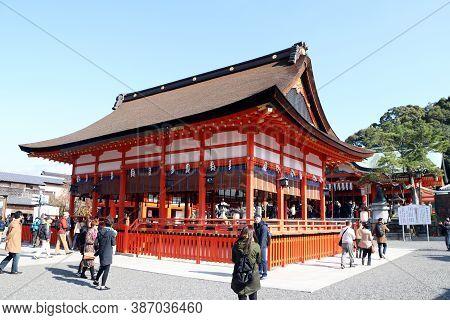Fushimi-ku, Kyoto, Japan, November 17, 2017 : The Main Hall Of Fushimi Inari Taisha Shinto Shrine Lo